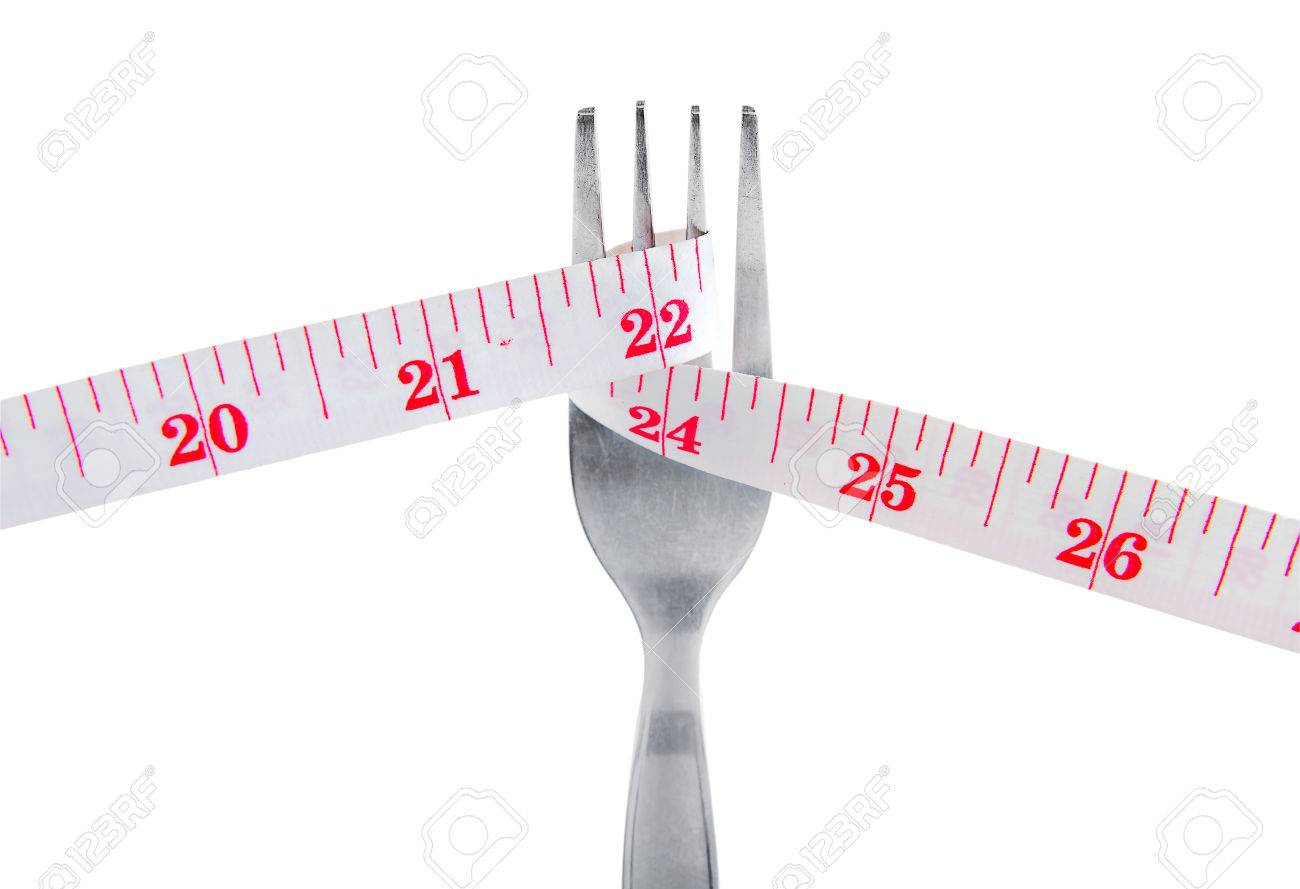 Measuring tape on fork in lose weight concept, Isolated on white background.